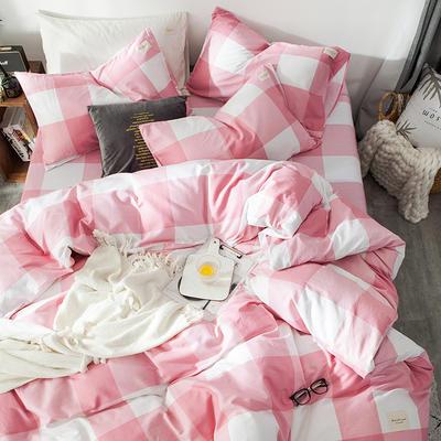 全棉织标款系列-四件套 1.2m床单款三件套 粉格