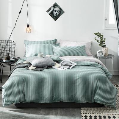 2019新款-全棉简约宜家四件套系列 床笠款1.2m被套160*210 绿竹