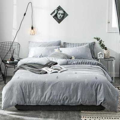 2019新款-全棉简约宜家四件套系列 床笠款1.2m被套160*210 密密仙境