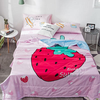 2019新款-全棉大版夏被 配一对枕套 草莓
