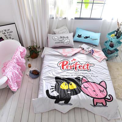 2019新款-全棉大版夏被 配一对枕套 夏被-猫先生