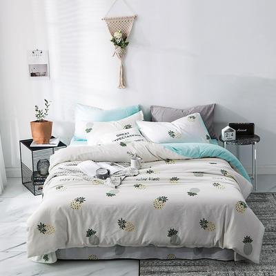 2019新款-A全棉B水洗系列四件套 三件套床笠款1.2m(4英尺)床 菠萝派对