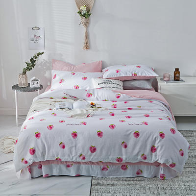 2019新款-A全棉B水洗系列四件套 三件套床笠款1.2m(4英尺)床 草莓物语