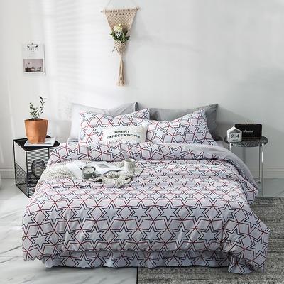 2019新款-A全棉B水洗系列四件套 床笠款1.8m(6英尺)床 花雨