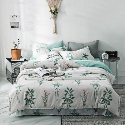 2019新款-A全棉B水洗系列四件套 三件套床笠款1.2m(4英尺)床 叶蔓蔓