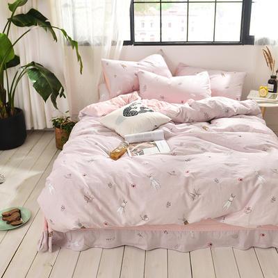 2019新款-A全棉B水洗系列四件套 三件套床笠款1.2m(4英尺)床 自由小兔-玉