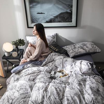 2019新款-60S长绒棉数码印花四件套 1.8m(6英尺)床 丛林灰