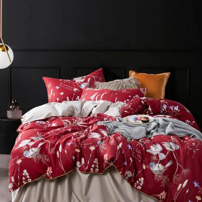 2019新款-60S长绒棉数码印花四件套 1.8m(6英尺)床 红妆