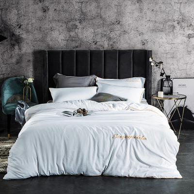 2019新款-轻奢丝绸棉系列四件套 1.8m(6英尺)床 轻奢-白