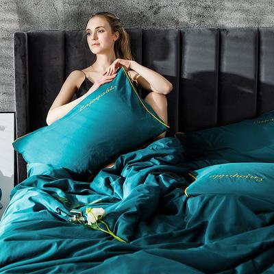 2019新款-轻奢丝绸棉系列四件套 1.8m(6英尺)床 轻奢-湖蓝