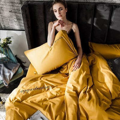 2019新款-轻奢丝绸棉系列四件套 三件套1.2m(4英尺)床 轻奢-金黄