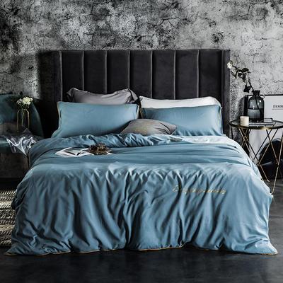 2019新款-轻奢丝绸棉系列四件套 三件套1.2m(4英尺)床 轻奢-兰灰