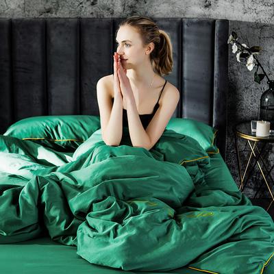 2019新款-轻奢丝绸棉系列四件套 三件套1.2m(4英尺)床 轻奢-绿