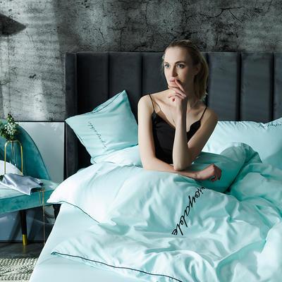 2019新款-轻奢丝绸棉系列四件套 1.8m(6英尺)床 轻奢-水绿