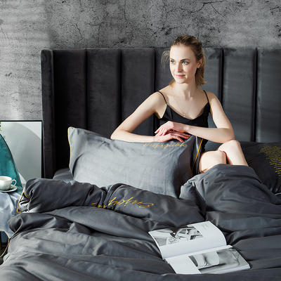 2019新款-轻奢丝绸棉系列四件套 1.8m(6英尺)床 轻奢-银灰