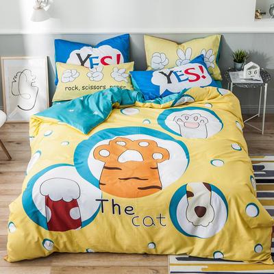 2019新全棉平网系列四件套 床单款1.2m被套160*210 巴克猫爪