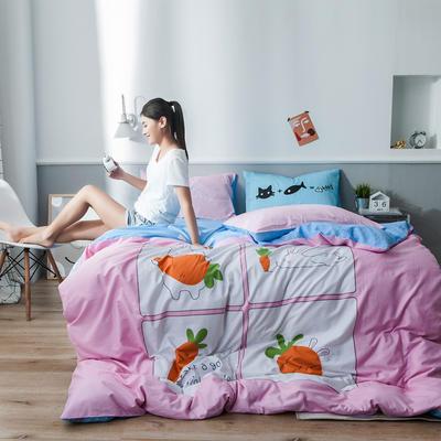 2019新全棉平网系列四件套 床单款1.2m被套160*210 兔萝卜