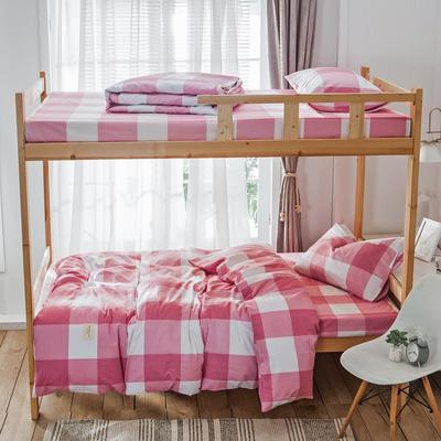 学生三件套-全棉简约织标款 床单款四件套1.35m(4.5英尺)床 粉格