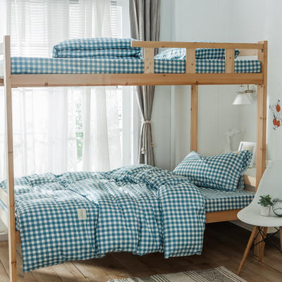 学生三件套-全棉简约织标款 床单款四件套1.35m(4.5英尺)床 蓝洲
