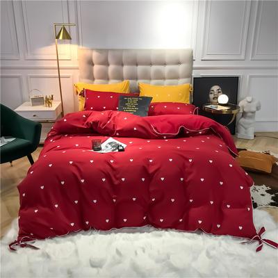 2019新款-蝴蝶结印花系列四件套 床单款三件套1.2m(4英尺)床 蝴蝶结-大红