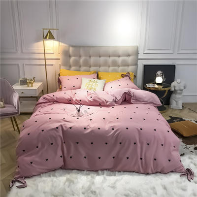 2019新款-蝴蝶结印花系列四件套 床单款三件套1.2m(4英尺)床 蝴蝶结-粉