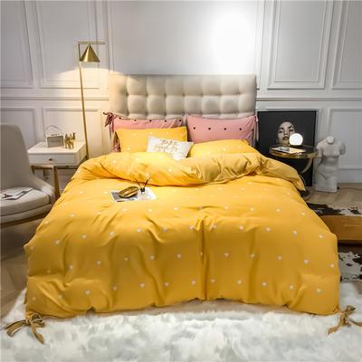 2019新款-蝴蝶结印花系列四件套 床单款三件套1.2m(4英尺)床 蝴蝶结-黄