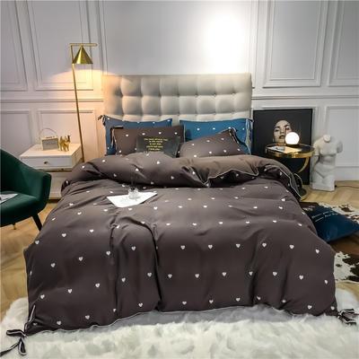 2019新款-蝴蝶结印花系列四件套 床单款三件套1.2m(4英尺)床 蝴蝶结-咖