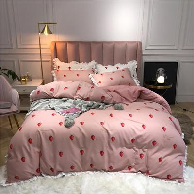 2019新款荷叶边印花系列四件套 1.2m床单款三件套 小草莓-粉