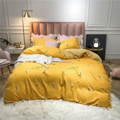 2019新款荷叶边印花系列四件套 1.2m床单款三件套 小雏菊-黄