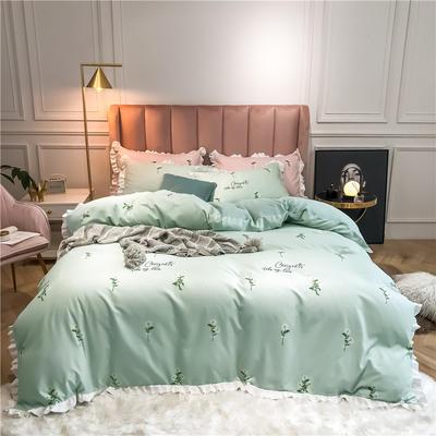 2019新款荷叶边印花系列四件套 1.2m床单款三件套 小雏菊-水绿