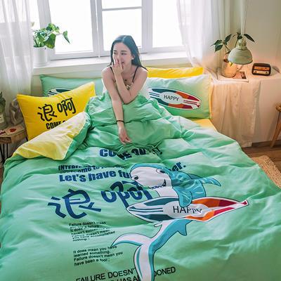 2019新款-13372全棉平网系列四件套 床单款1.8m(6英尺)床 浪啊