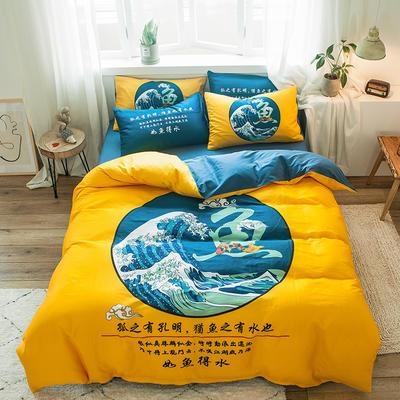 2019新款-13372全棉平网系列四件套 床单款1.8m(6英尺)床 情深