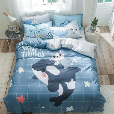 全棉平网系列四件套 床单款1.5m被套180*220 麦兜