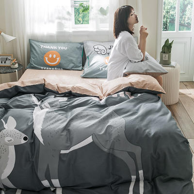 全棉平网系列四件套 床单款1.5m被套180*220 麋鹿