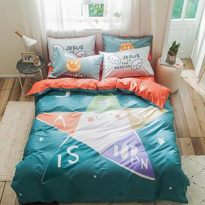 全棉平网系列四件套 床单款1.2m被套160*210 五星