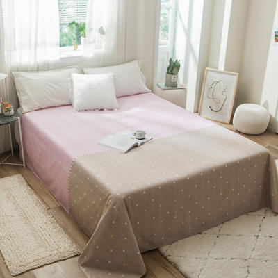2019新款-单品全棉床单 180cmx230cm 粉驼