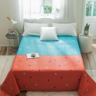 2019新款-单品全棉床单 180cmx230cm 绿橙