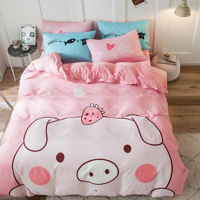 绒-A棉大版B绒系列四件套 床单款四件套1.5m(5英尺)床 绒-baby猪