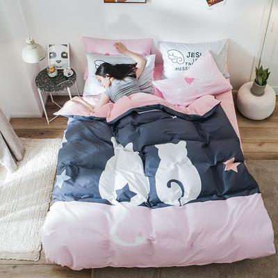 2019新款-绒-A棉大版B绒系列四件套 床单款三件套1.2m(4英尺)床 绒-二人世界