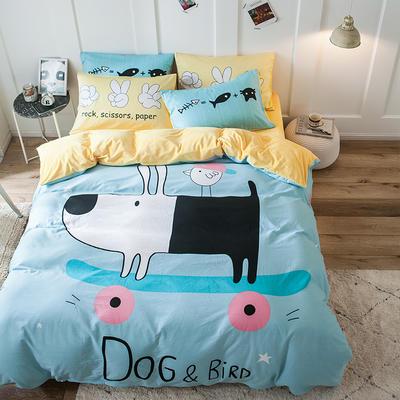 绒-A棉大版B绒系列四件套 床单款三件套1.2m(4英尺)床 绒-憨豆