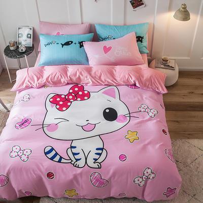 绒-A棉大版B绒系列四件套 床单款三件套1.2m(4英尺)床 绒-花花