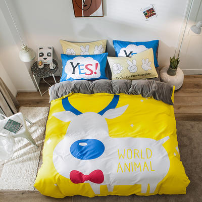 2019新款-绒-A棉大版B绒系列四件套 床单款三件套1.2m(4英尺)床 绒-欢乐颂