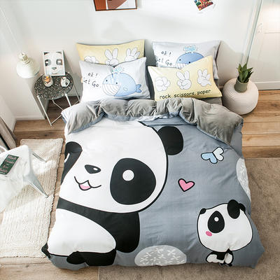 绒-A棉大版B绒系列四件套 床单款三件套1.2m(4英尺)床 绒-欢乐玩伴