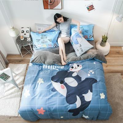 2019新款-绒-A棉大版B绒系列四件套 床单款三件套1.2m(4英尺)床 绒-麦兜