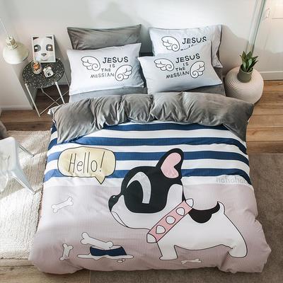 绒-A棉大版B绒系列四件套 床单款四件套1.5m(5英尺)床 绒-萌犬