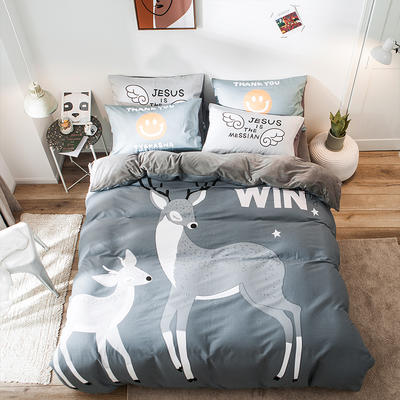 2019新款-绒-A棉大版B绒系列四件套 床单款三件套1.2m(4英尺)床 绒-麋鹿