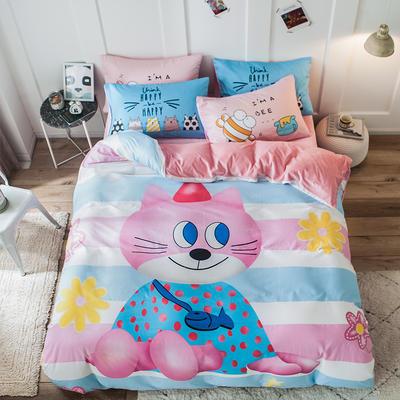 绒-A棉大版B绒系列四件套 床单款三件套1.2m(4英尺)床 绒-喵小姐