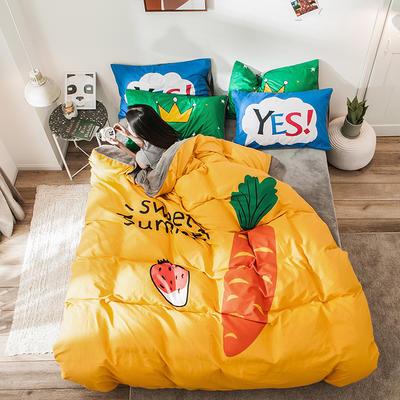 绒-A棉大版B绒系列四件套 床单款三件套1.2m(4英尺)床 绒-甜美