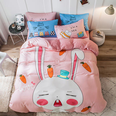 绒-A棉大版B绒系列四件套 床单款三件套1.2m(4英尺)床 绒-兔宝宝