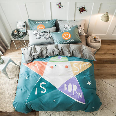 2019新款-绒-A棉大版B绒系列四件套 床单款三件套1.2m(4英尺)床 绒-五星